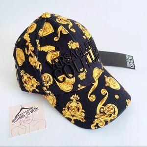 ⭕️ VERSACE JEANS Cap Hat Black Logo Gold Unisex